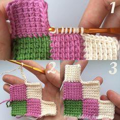 """40 Likes, 2 Comments - Катя (@dorokhina_knitting) on Instagram: """"Второй диагональный ряд состоит из трёх квадратов. Так же присоединяем новую нить и вяжем ряды (6)…"""""""
