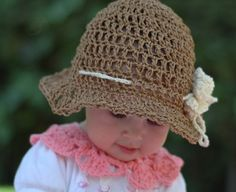 Infant Summer Sun Hat  With White flower and adjustable Cotton Rope