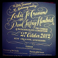 Hand-Lettered Gold and Navy programs for a New Orleans wedding by Ladyfingers Letterpress.