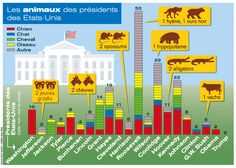 The presidents of the United States and their pets. Infographics by Hugues Piolet for Historia Magazine.