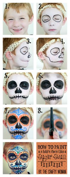 "How to Paint a Face: Sugar Skull for Dia De Los Muertos - If you are not a ""DIY"" kind of person, get your face painted by local artists the day of the event!"