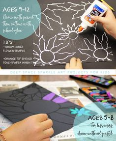 art projects Easy chalk flowers art project for kids age Connect art project with Vincent Van Gogh art unit School Art Projects, Projects For Kids, Art School, Crafts For Kids, Easy Art Projects, Easy Art For Kids, Painting Ideas For Kids, School Age Crafts, Paper Art Projects