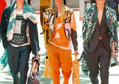 London Menswear Print Highlights – Spring/Summer 2015 catwalks dventure & Exploration Inspired Looks – Graphic Covers of  Found Vintage Books – Weathered Colourways – Oversized Typography Prints – Bruce Chatwin References