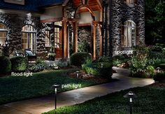 Landscape Lighting Ideas Here we have best photo about backyard lighting ideas. We hope these photos can be your buoyant inspiration vis--v. Backyard Lighting, Deck Lighting, Landscape Lighting, Lighting Ideas, Low Voltage Outdoor Lighting, Led Path Lights, Outdoor Fireplace Designs, Shade Garden, Garden Path
