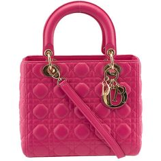 Pre-owned Christian Dior Lady Dior Pink Leather Quilted Tote ($2,300) ❤ liked on…