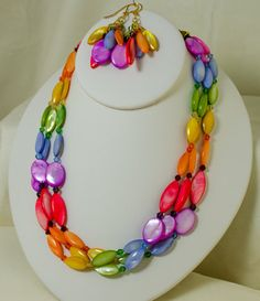 Rainbow Mother of Pearl Multi Strand Choker by LindyLeeTreasures