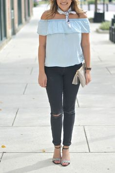 off-the-shoulder fall outfit - chambray off the shoulder, bandana neck scarf, black jeans | www.fizzandfrosting.com