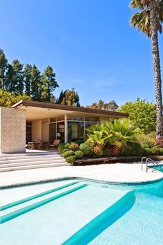 Mid-Century Modern Pool (with shallow, wide steps at one end) & House (built in 1950's for Art Linkletter on just under 5 acres)