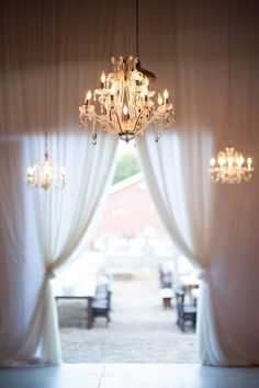 Beautiful chandeliers for modern barn wedding at The Ojai Valley Inn & Spa. Planning by Details Events Planning; Photography by Mi Belle Photography | junebugweddings.com