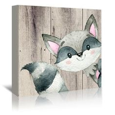 "East Urban Home 'Woodland Friends Wild Animal Raccoon Square' Graphic Art Print on Canvas Size: 20"" H x 20"" W x 1.5"" D"