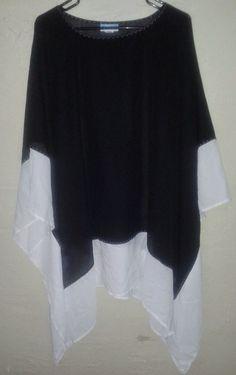 Resorts Plus Women Top Sheer Poncho Cover Up Batwing Black White 5x6x7x 32/34/36 #ResortsPlus #Blouse #any