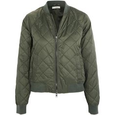 Vince Quilted shell bomber jacket ($445) ❤ liked on Polyvore featuring outerwear, jackets, army green, flight bomber jacket, zipper jacket, vince jacket, army green jacket and green military jacket