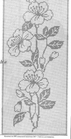 Filet Crochet Charts, Crochet Diagram, Knitting Charts, Cross Stitch Embroidery, Embroidery Patterns, Crochet Patterns, Crochet Curtains, Crochet Doilies, Thread Crochet