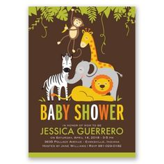 Jungle Fun Baby Shower Invitations at Invitations By Dawn