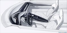 Porsche Mission E interior sketches by Felix Godard