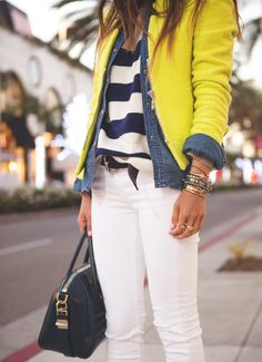 yellow jacket & denim outfit