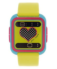 Betsey Johnson Watch, Women's Digital Lime Green Silicone Strap 35mm BJ00117-02 - Betsey Johnson - Jewelry & Watches - Macy's