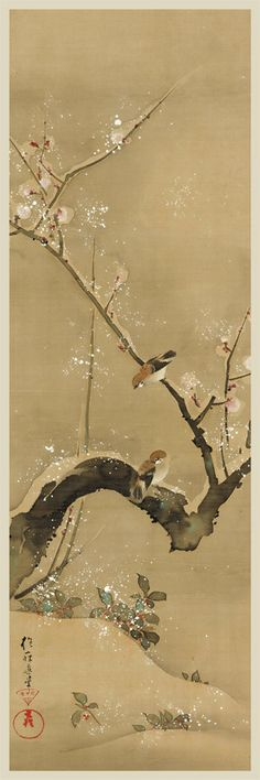 Birds and Flowers of the Twelve Months. Sakai Hōitsu (Japanese, Period:Edo period Date:ca. Culture:Japan Medium:Set of twelve hanging scrolls; ink, color, and gold paint on silk Art Occidental, Art Chinois, Japan Painting, Art Japonais, China Art, Japanese Prints, Japan Art, Chinese Painting, Woodblock Print