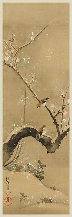 Stampa giapponese. Stampa d'arte. Uccelli e fiori dei dodici