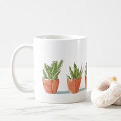 Watercolor Potted Plants Cactus Succulents Coffee Mug Custom Office Retirement #office #retirement