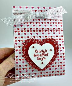Valentine's Day Sachet Treat Holder - Stamping With Tracy day treats classroom day treats easy day treats ideas day treats kids day treats school Valentines Day Treats, Kids Valentines, Valentine Cards, Handmade Birthday Cards, Handmade Cards, Treat Holder, Stampin Up Christmas, Mini Scrapbook Albums, Heartfelt Creations