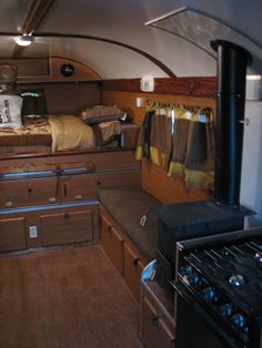 bus conversion, or skoolie... really plush, lots of wood... beautiful