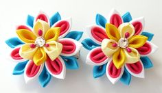 Kanzashi Fabric Flowers. Set of 2 hair clips. Pink white by JuLVa