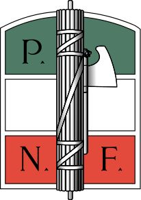 Fasces-Symbol of Italian fascist--the fasces. It is the symbol of power from ancient Roman. The axe represents the supreme power held by the dictator, and the wood stick represents unity. Roman Latin, Kingdom Of Italy, Party Logo, Sigil Magic, Ww2 Posters, Historia Universal, Italian Army, Latin Words, Badge Logo