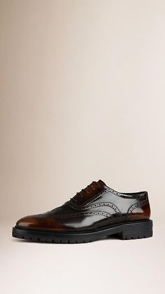 Bitter chocolate Leather Wingtip Brogues With Rubber Sole - Burberry $775.00