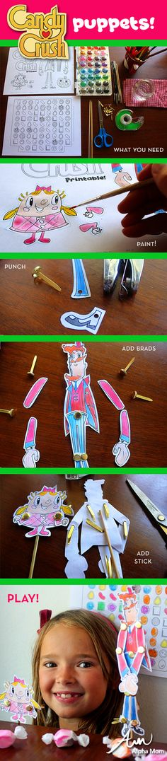 Candy Crush Character Puppet Printables
