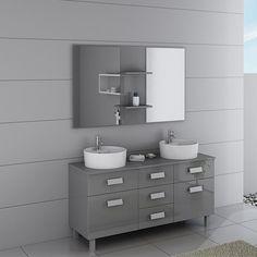 Pratique grâce à tous ses rangements, ce meuble de salle de bain double vasque à la couleur grise tendance et son large miroir vous sera très utile au quotidien.