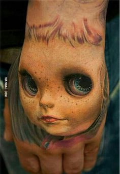 "Insanely realistic tattoo of Blythe.    last pinner said ""awesome'...I am a little creep-ed out!!"