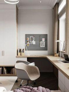 Modern Home Office Design Ideas For Inspiration - HomyBuzz Home Office Space, Modern Home Office, Office Interior Design, Room Design, House Interior, Office Interiors, Home, Interior, Office Design