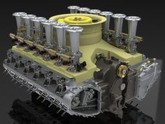 A Flat 12 Cylinder engine derived from 2.7 Porsche Flat 6 components by Mark Perona