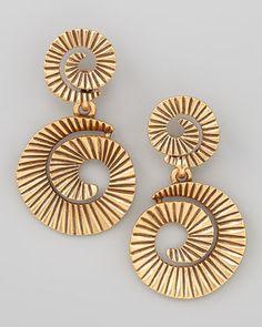 Gold-Plate Spiral Earrings by Oscar de la Renta at Neiman Marcus.