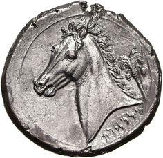 Tetradracma - argento - Cartagine? (330-300 a.C.) - protome equina, palma da datteri, scritta in punico - Münzkabinett der Staatlichen Museen Berlin