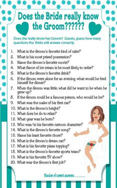 Fun game of does the Bride know the Groom. Files are supplied with or without the Bride. Great game for Couple's Showers and not as easy as you think. Couple Shower Games, Wedding Shower Games, Couple Games, Marriage Conference, Hen Ideas, Shower Time, Husband Wife, Love And Marriage, Fun Games