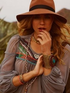 Boho chic floppy hat, modern hippie embroidered top, layered gypsy style jewelry. For MORE Bohemian inspiration FOLLOW >>>  http://www.pinterest.com/happygolicky/the-best-boho-chic-fashion-bohemian-jewelry-gypsy-/