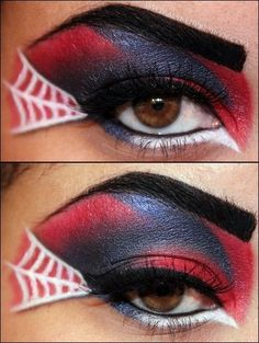 Spiderman eyeshadow. So cool!