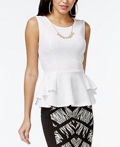 Thalia Sodi Textured Peplum Necklace Top, Only at Macy's - Women - Macy's