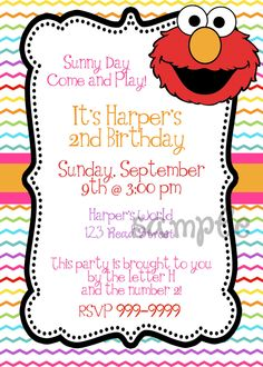 Custom digital DIY Elmo Birthday Party Invitation. $10.00, via Etsy.