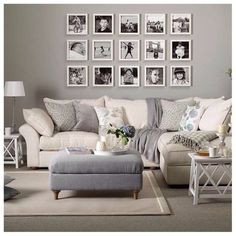Vintage Decor Living Room Grey living room with cream sofa, grey footstool and picture gallery - Looking for neutral living room design ideas? Browse our gallery of neutral living rooms including ideas for living room flooring and wallpapers My Living Room, Home And Living, Small Living, Cozy Living, Cream Living Room Decor, Modern Living, Sitting Room Decor, Living Room Decor Colors Grey, Cream Carpet Living Room
