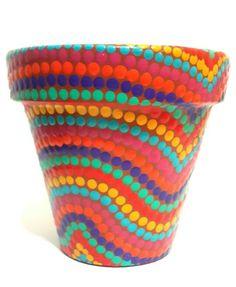 Mosaic Flower Pots, Clay Flower Pots, Mosaic Pots, Flower Pot Crafts, Clay Pot Crafts, Flower Planters, Painted Clay Pots, Painted Flower Pots, Hand Painted