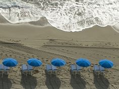 Umbrellas on a Beach with Approaching Surf at Sunrise