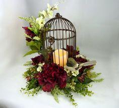 Bird Cage Floral Arrangement Flower Centerpiece by Floralwoods