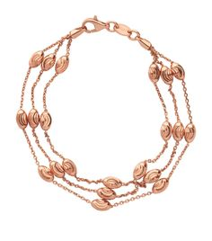 Links of London Rose Gold Vermeil Essentials Beaded 3 Row Bracelet , Links Of London, Harrods, The Row, Classic Style, Cuff Bracelets, Gold Necklace, Rose Gold, Chain, Essentials