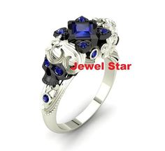 Devil Pirates Ring 925 Sterling Silver SKULL Engagement Ring Sexy Blue Diamond #JewelStar #Cocktail
