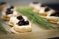Honey Peppered Goat Cheese on Wafer Cracker with Fig Balsamic Drizzle    Inspired Grace Weddings  Carper Creative Photography  Tanarah Luxe Floral  Simply the Best Catering  Little Rock, Arkansas