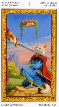 L'as d'épées - Tarot chats blancs par Severino Baraldi