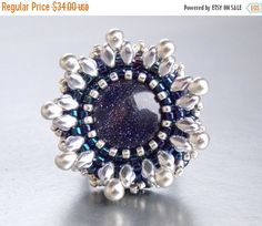 Check out Christmas sale Ring,Bead embroidery , Seed beads jewelry, Christmas gift, Fashionable ring, Blue Sand Quartz, Midnight blue, Silver on vicus
